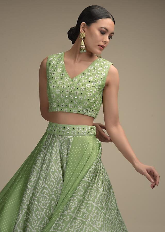 Pastel Green Skirt In Satin Blend With Bandhani Print And Abla Embroidered Crop Top Online - Kalki Fashion