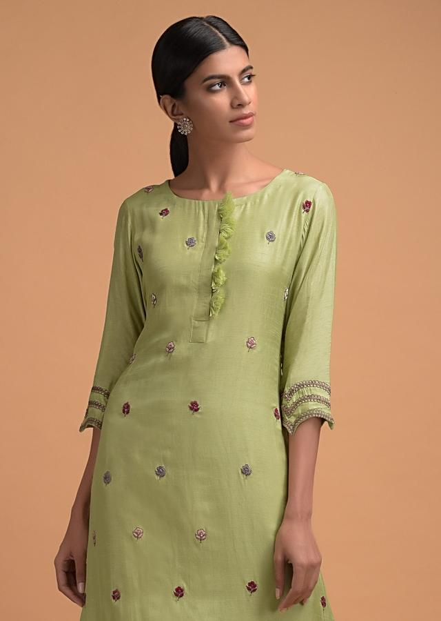 Nature Green Straight Cut Suit With Thread And Zari Embroidered Buttis Online - Kalki Fashion