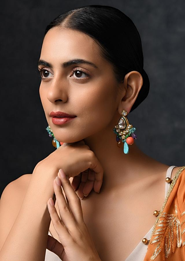 Navrattan Royal Indian Earrings Featuring Multicolored Stones And High Grade Beads By Paisley Pop