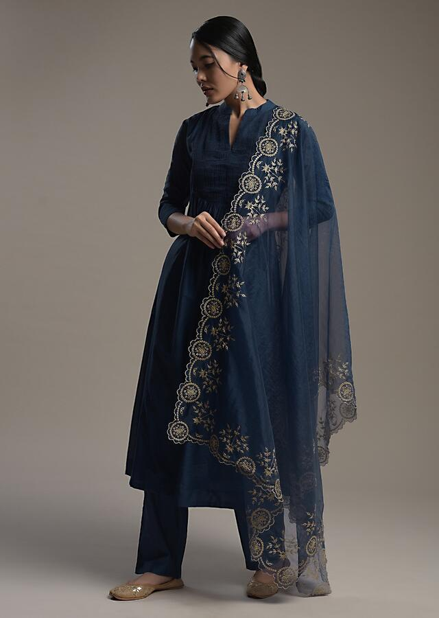 Navy Blue A Line Suit In Cotton With Pin Tucks Detailing And Teamed With A Zari Embroidered Organza Dupatta Online - Kalki Fashion