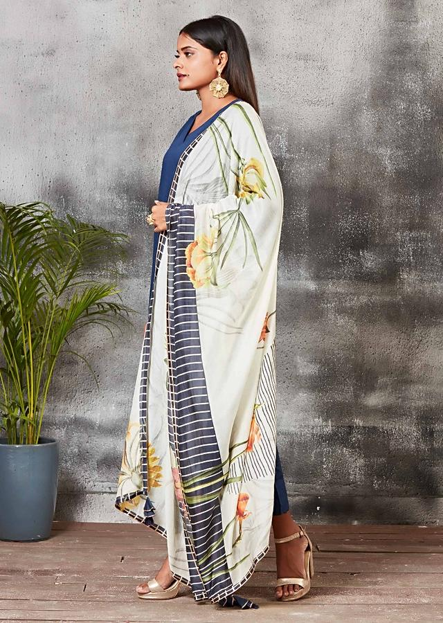 Navy Blue A Line Suit With Cigarette Pants And Floral Printed Dupatta Online - Kalki Fashion