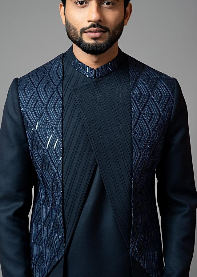 Navy Blue Achkan And Trouser Set In Suiting Fabric With Sequins And Thread Work Embroidery By Smriti Apparels