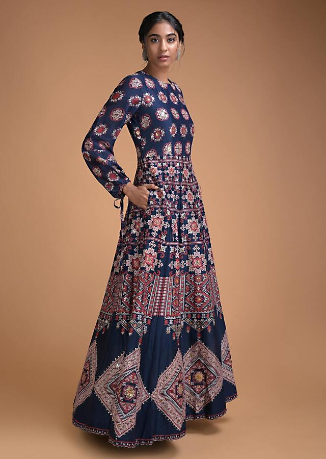 Navy Blue Anarkali Dress In Cotton Silk With Patola Print And Gotta Patch Embroidery Online - Kalki Fashion