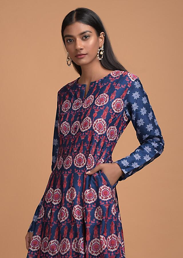 Navy Blue Anarkali Dress In Cotton With Floral Motifs In Repeat Pattern Online - Kalki Fashion