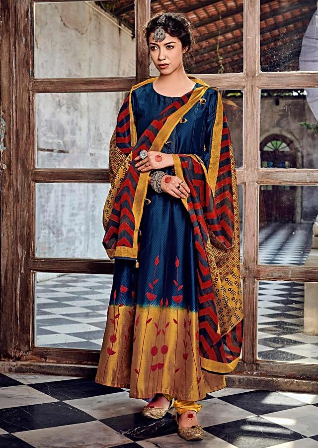 Navy Blue Anarkali Suit In Cotton With Striped Print And Shaded Mustard Hemline With Thread Work Online - Kalki Fashion