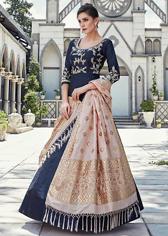 Navy Blue Anarkali Suit In Raw Silk With Embroidered Bodice And Sleeve Online - Kalki Fashion