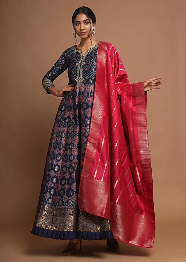 Navy Blue Anarkali Suit With Brocade Patola Design And Contrasting Silk Dupatta Online - Kalki Fashion