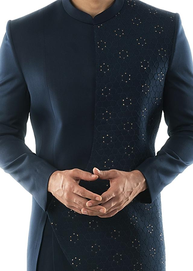 Navy Blue Asymmetric Achkan With French Knot Embroidery And Navy Blue Slim Fit Trousers. Online - Kalki Fashion