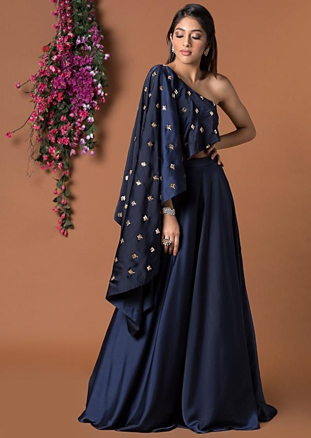 Navy Blue Asymmetrical Cape Top With Flared Skirt Online - Kalki Fashion