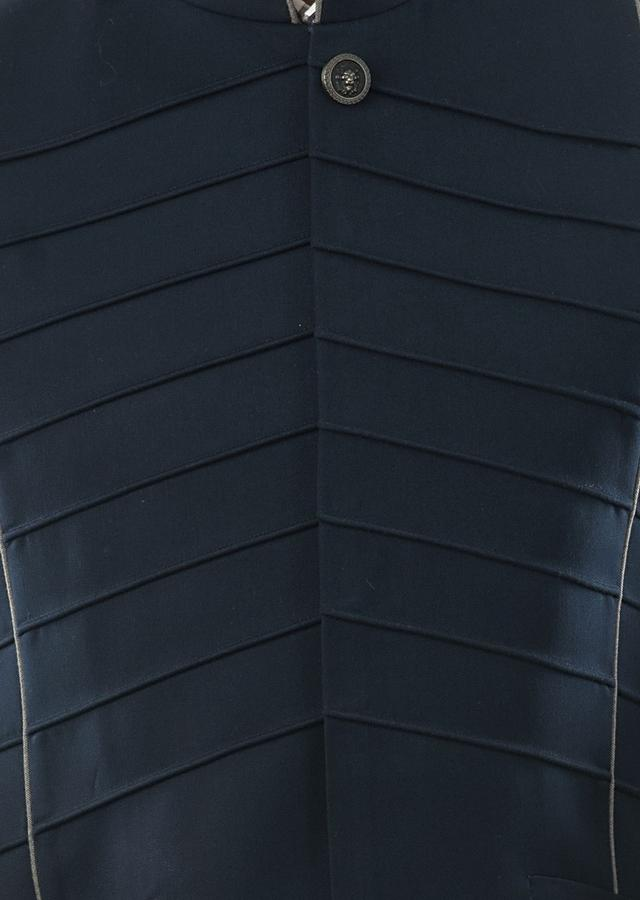 Navy Blue Bandi In Cord Piping Detail On The Front In Symmetrical Patterns. Online - Kalki Fashion