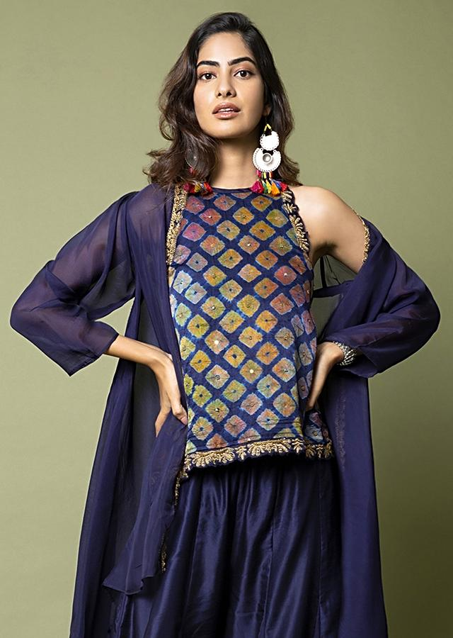 Navy Blue Black Top With Water Color Effect Bandhani Paired With Paneled Sharara Pants And Jacket Online - Kalki Fashion