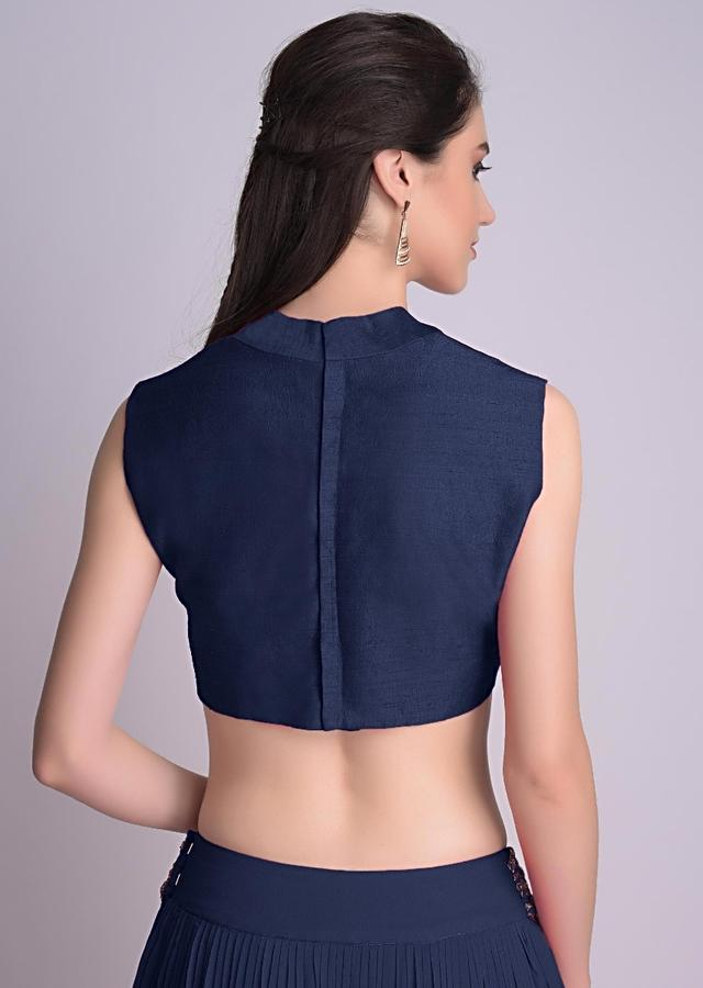 Navy Blue Blouse In Raw Silk With V Neckline Online - Kalki Fashion