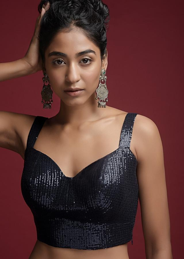 Navy Blue Blouse In Sequins Fabric With Corset Neckline Online - Kalki Fashion