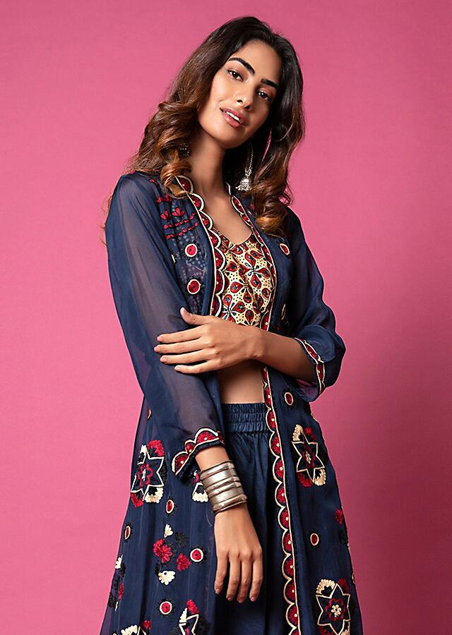 Navy Blue Crop Top And Cowl Pants Set With Ajrakh Print And A Mandala Aari Embroidered Jacket Online - Kalki Fashion