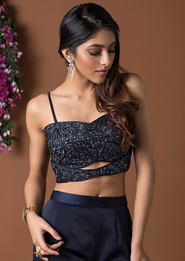 Navy Blue Crop Top With Fitted Ruffled Bell Bottom Pants Online - Kalki Fashion
