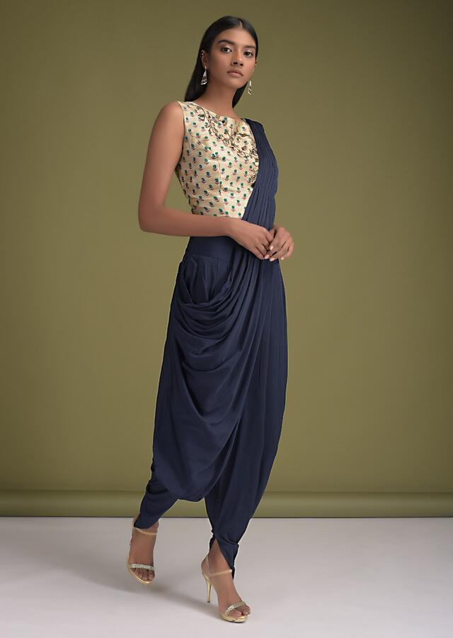 Navy Blue Dhoti Saree In Satin With  Pre-Stitched Pallu And Sand Beige Floral Printed Crop Top Online - Kalki Fashion