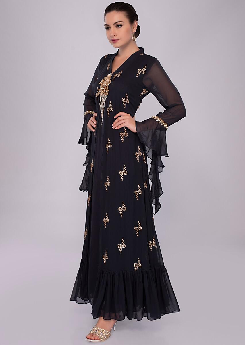 05bfd704be Navy blue double layer tunic dress with embroidery an butti only on Kalki
