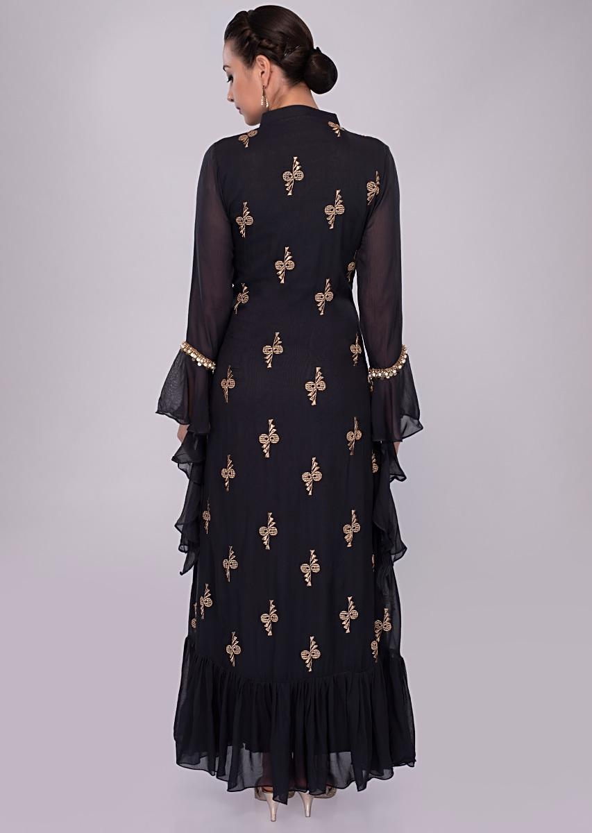 b630624f84 Navy blue double layer tunic dress with embroidery an butti only on KalkiMore  Detail