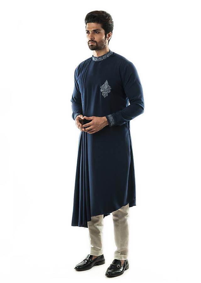 Navy Blue Drape Kurta In Twill Fabric With Zari Embroidery And Narrow Fitted Pants Online - Kalki Fashion
