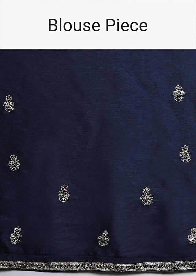 Navy Blue Dupion Saree With Hand Embroidered Butti And Border Online - Kalki Fashion