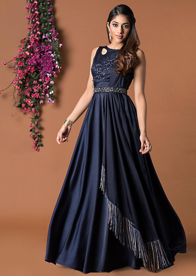 Navy Blue Flared Gown With Attached Drape And Hanging Chains Online - Kalki Fashion