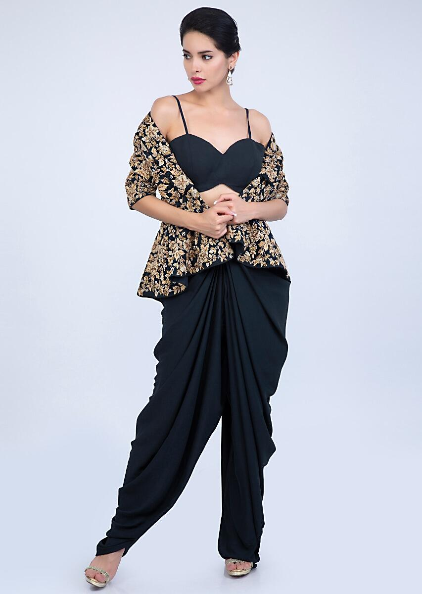0e969cad6a Navy blue georgette dhoti and bustier paired with peplum style heavy  embroidered jacket only on Kalki