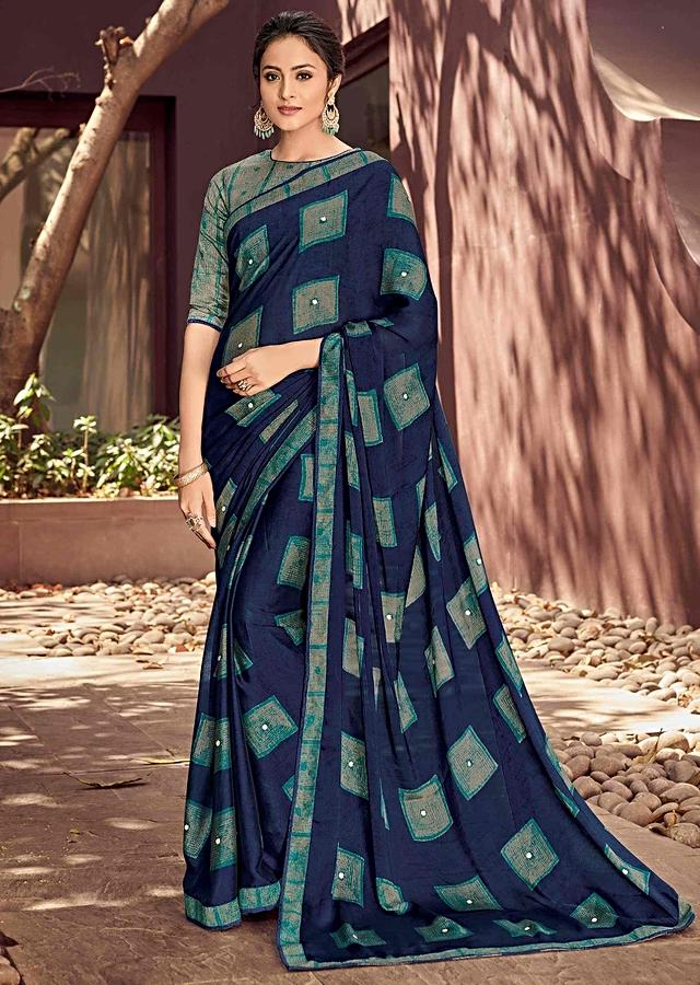 Navy Blue Saree Ingeorgette With Teal Blue Geometric Print Online - Kalki Fashion