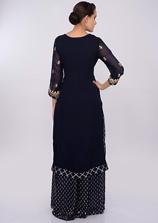 Navy Blue Sharara Suit Set In Georgette With Embroidery And Butti Online - Kalki Fashion