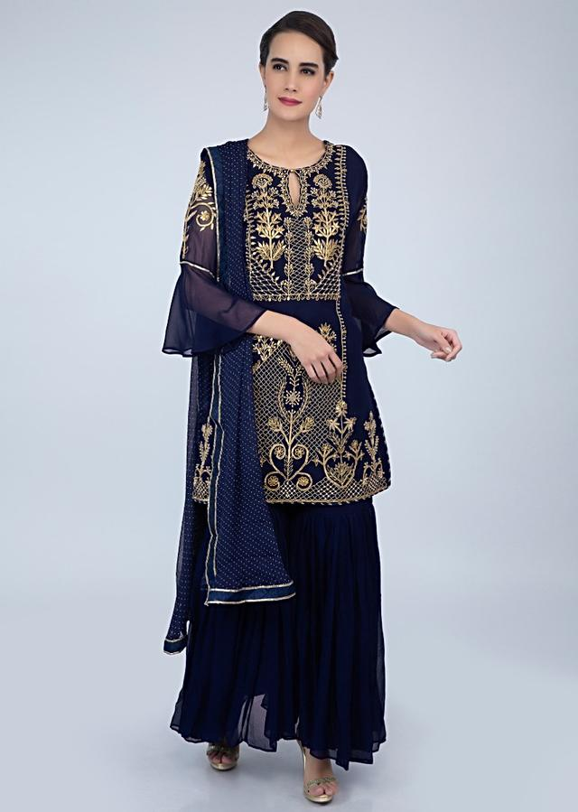 Navy Blue Sharara Suit Set In Georgette With Front Panel Embroidery Online - Kalki Fashion