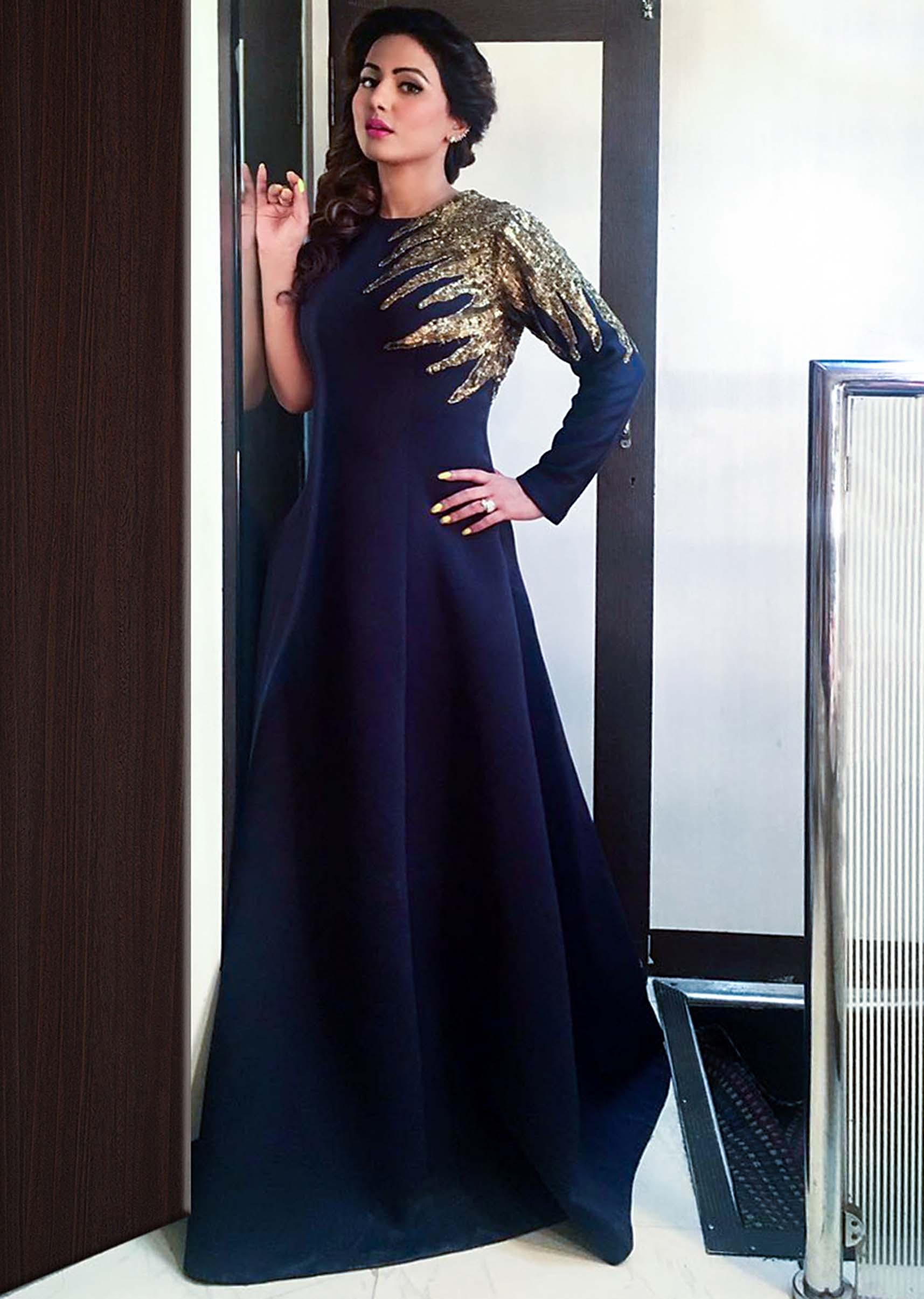 0f8ad951c2b Hina Khan in kalki navy blue gown in sequin embroidered yoke