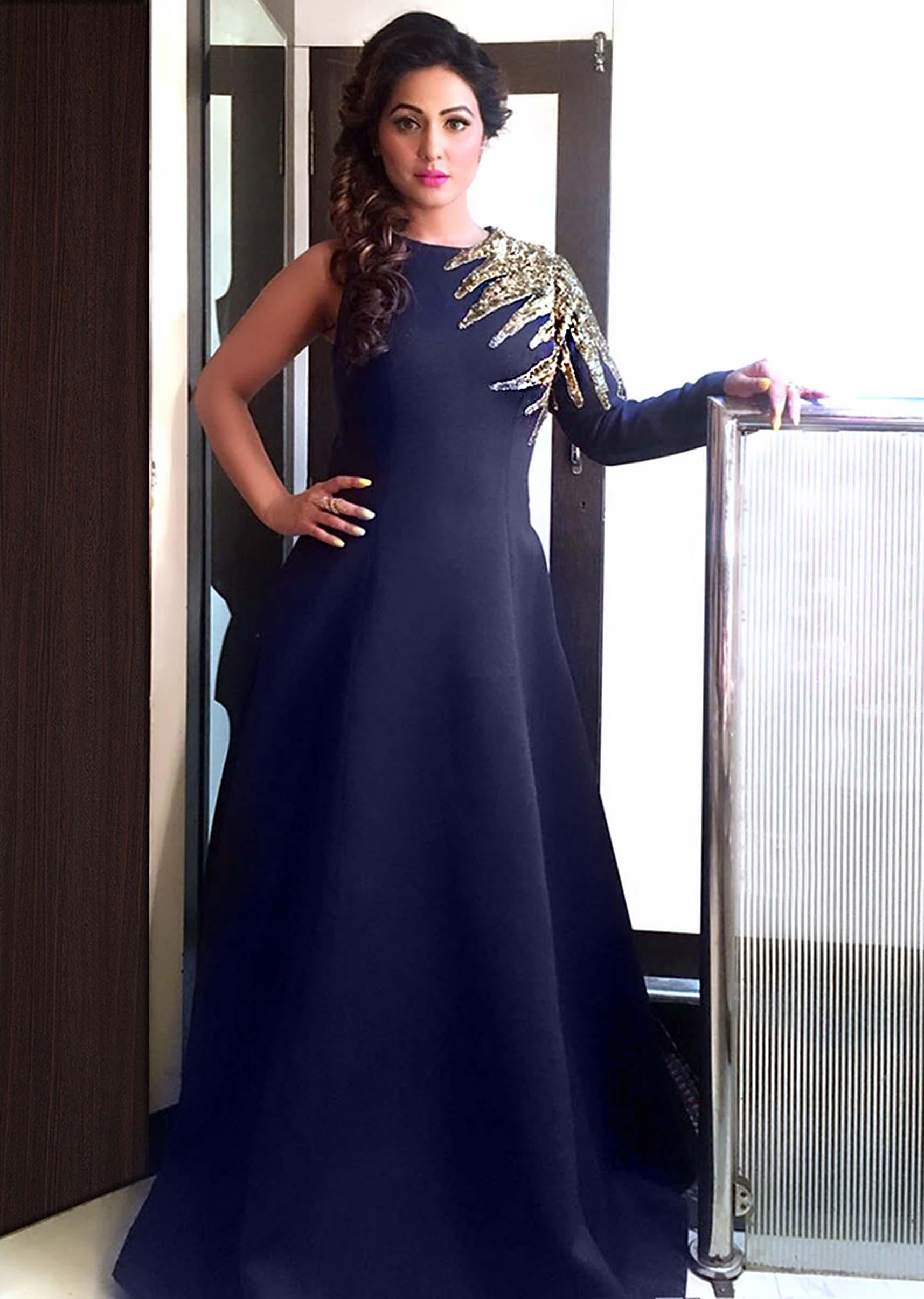 Hina Khan In Kalki Navy Blue Gown In Sequin Embroidery Yoke