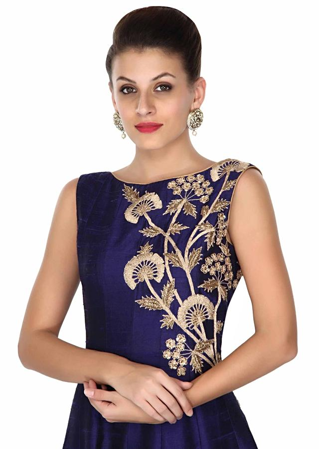 Navy blue gown adorn in zari and sequin in floral online - kalki fashion