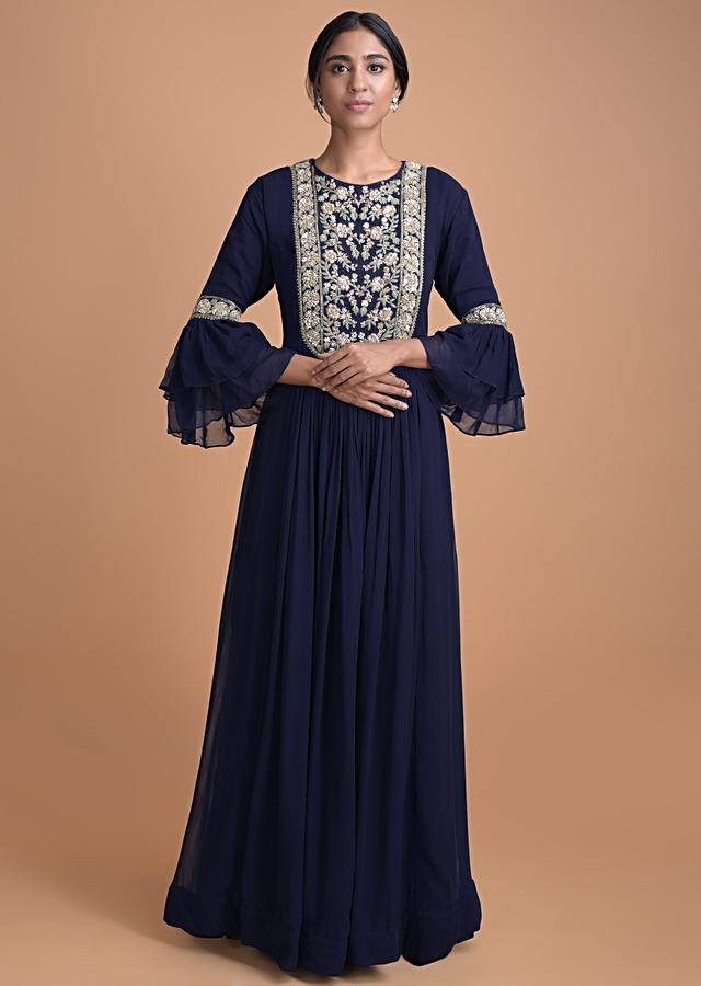 Navy Blue Gown Dress With Embellished Bodice And Pleated Waist Online - Kalki Fashion