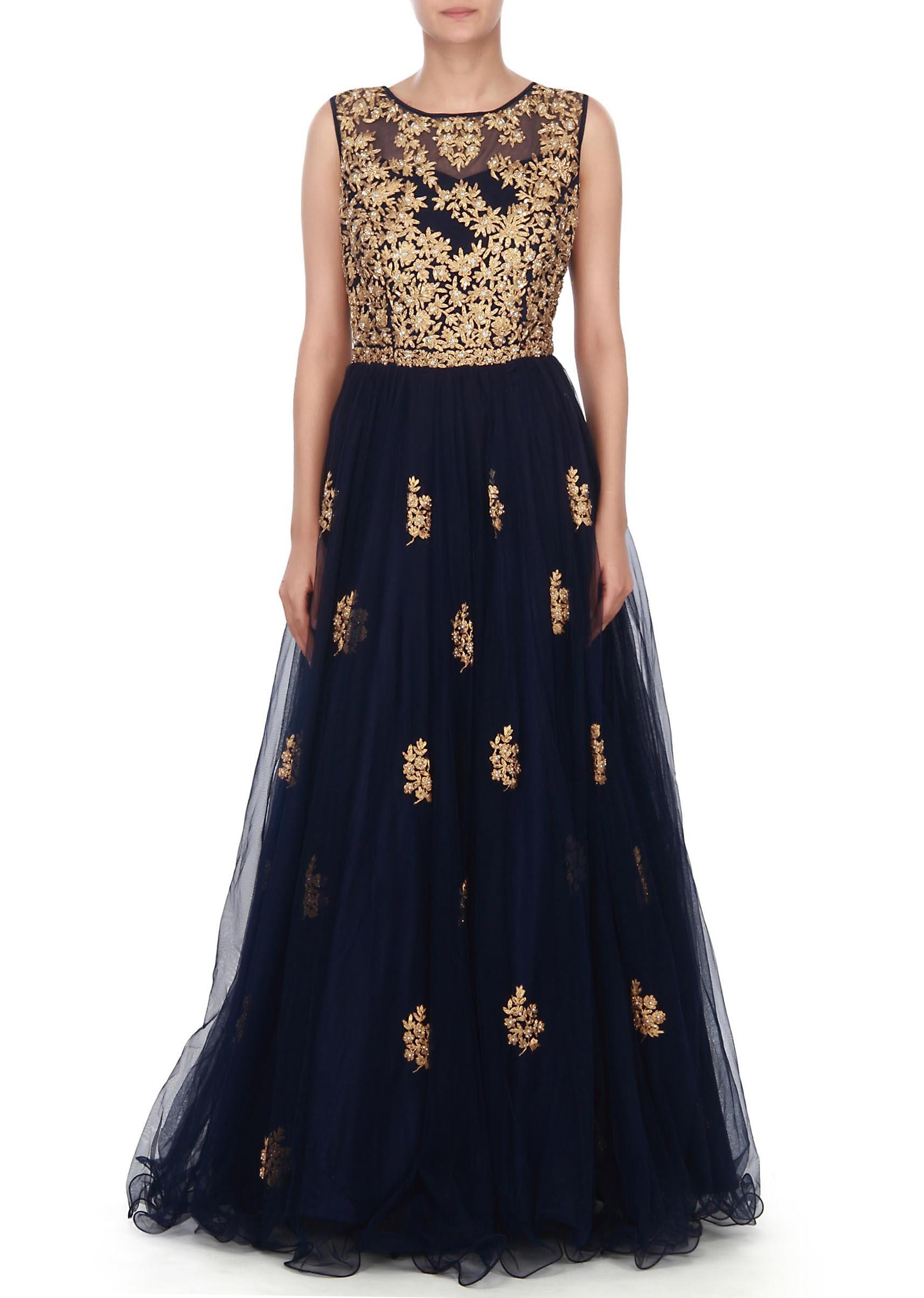 b890287daf Navy blue gown in embossed zari and kundan embroidery only on KalkiMore  Detail