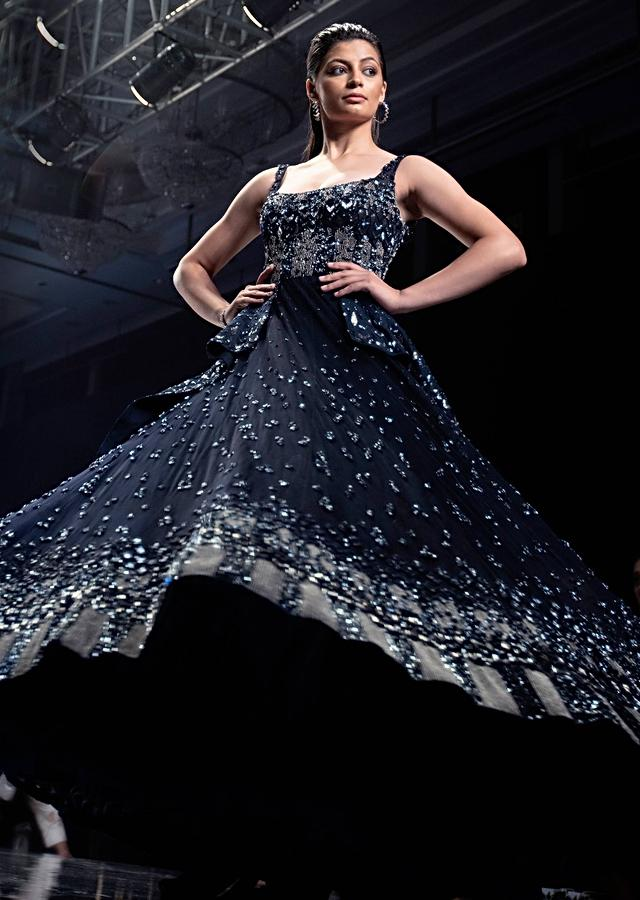Neeti Mohan In Kalki Organic Blue Gown In Hand Crafted Net With An Embellished Organza Drape