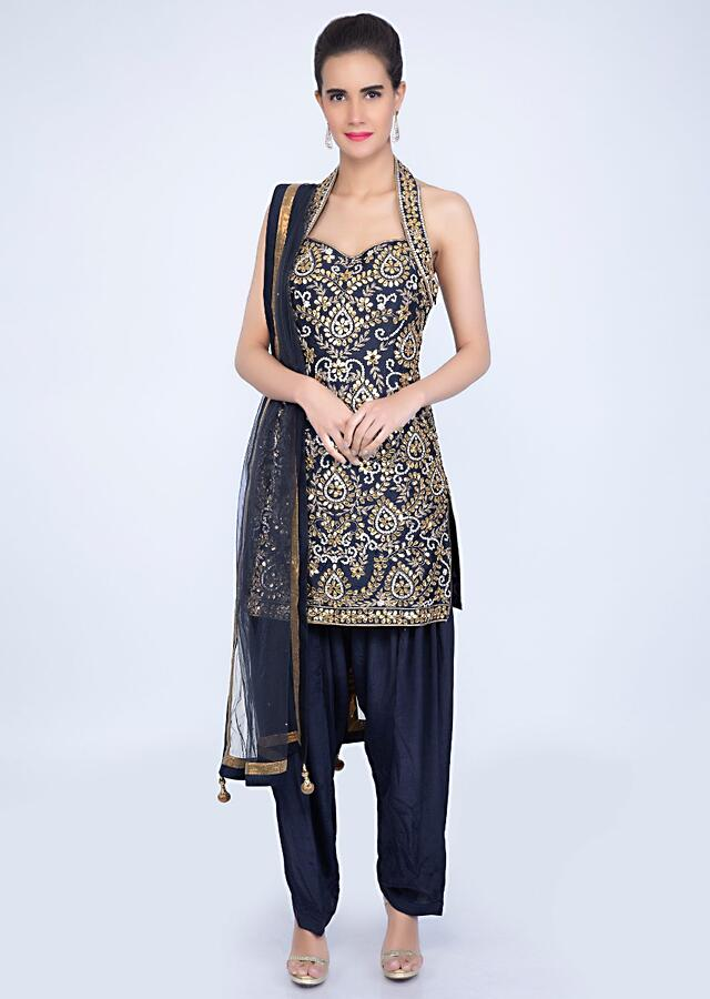 Navy Blue Halter Neck Suit With Jaal Embroidery And Matching Salwar And Net Dupatta Online - Kalki Fashion