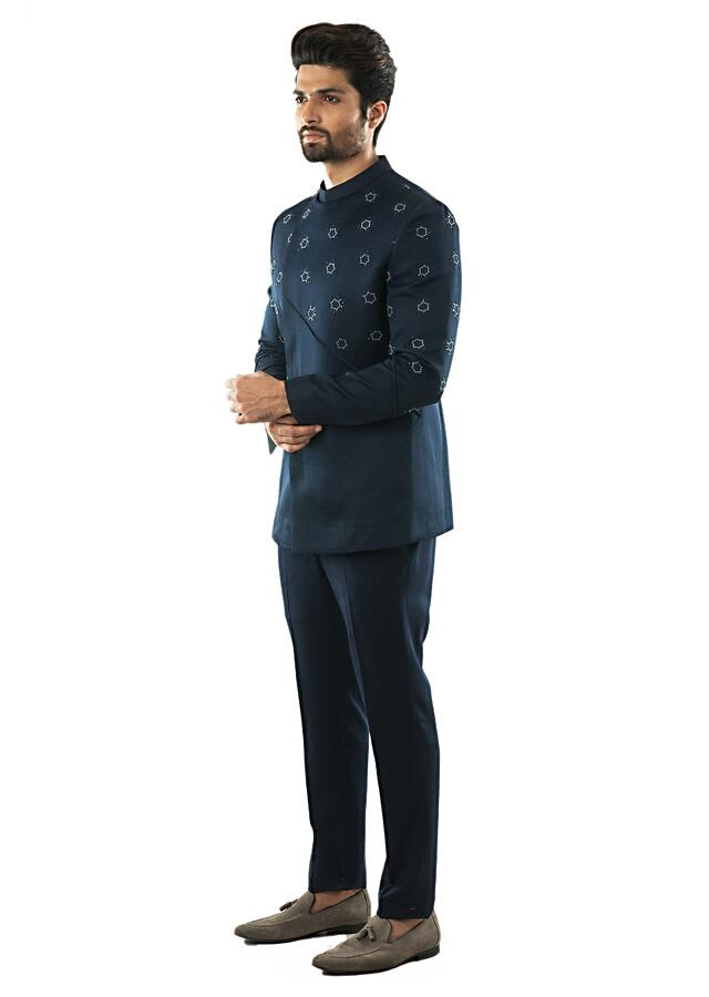 Navy Blue Hand Embroidered Bandhgala With French Knots Detailing With Navy Slim Fit Trousers  Online - Kalki Fashion