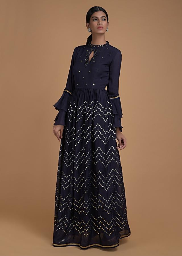 Navy Blue Indowestern Gown With Abla Work In Chevron Pattern And Bell Sleeves Online - Kalki Fashion