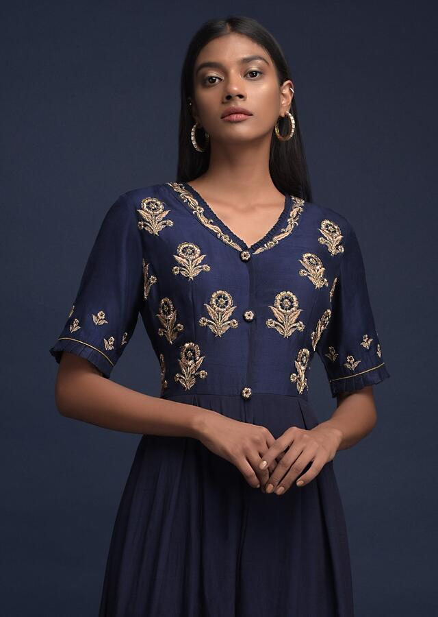 Navy Blue Jumpsuit In Crepe With Cotton Silk Bodice And Zardozi Embroidered Floral Buttis  Online - Kalki Fashion