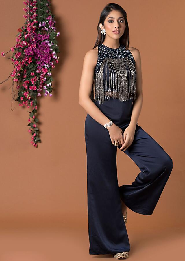 Navy Blue Jumpsuit With Tassel Chains On Bodice Online - Kalki Fashion