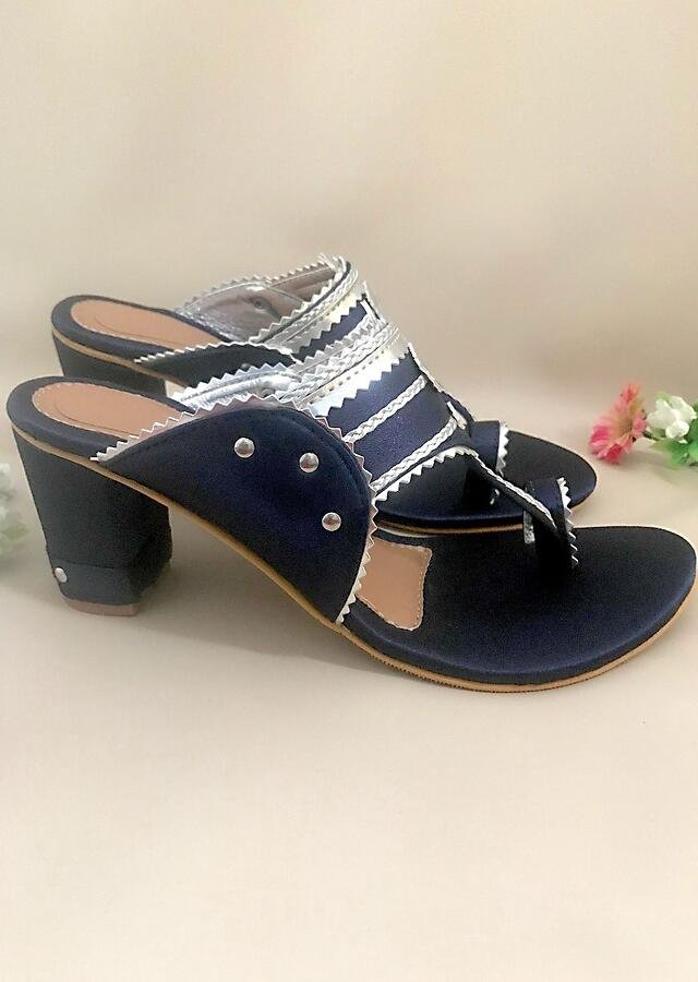 Navy Blue Kolhapuri Heels In Satin With Gold Braiding And Button Details By Sole House