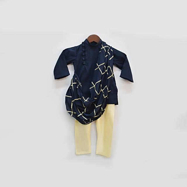 Navy Blue Kurta Set In Silk With Off Centre Placket And Attached Embroidered Drape By Fayon Kids