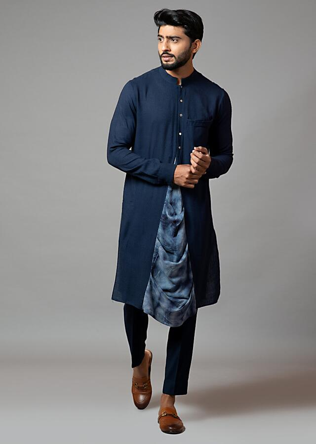 Navy Blue Kurta Set With Front Slit And Attached Tie Dye Draped Panel In The Centre By Smriti Apparels