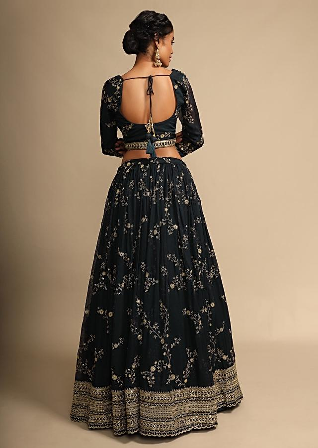 Navy Blue Lehenga And Crop Top With Zari Embroidered Floral Jaal And A Powder Blue Dupatta Online - Kalki Fashion