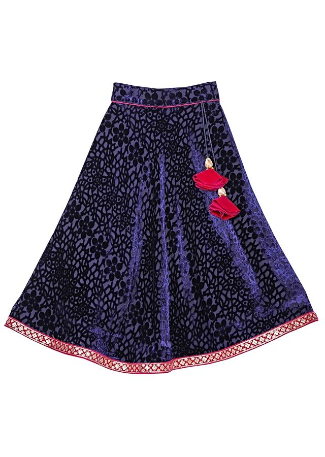 Navy Blue Lehenga And Fuchsia Crop Top In Embroidered Velvet Online - Free Sparrow