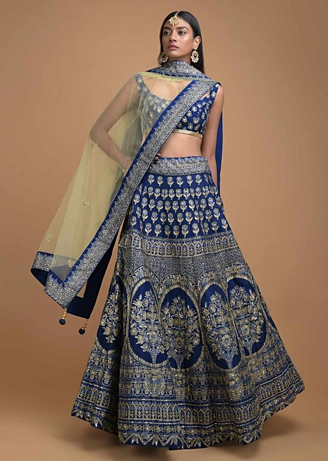 Navy Blue Lehenga Choli With Foil Print In Framed Floral Motif And Heritage Pattern Online - Kalki Fashion