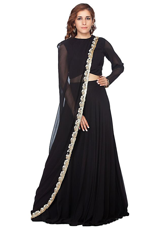 Black Lehenga In Georgette With Fancy Attached Cape In Moti Embroidered Border Online - Kalki Fashion