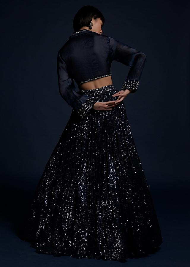 Navy Blue Lehenga In Sequins Fabric With A Matching Organza Crop Top Adorned With Cut Dana On The Underlayer Online - Kalki Fashion