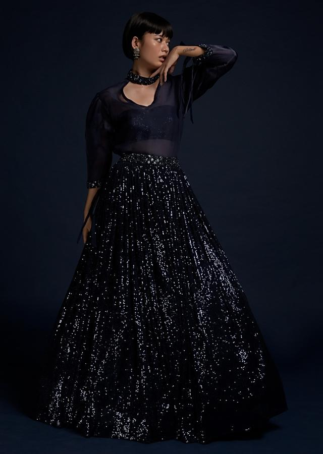 Navy Blue Lehenga In Sequins Fabric With A Matching Organza Top And Sequins Bustier Online - Kalki Fashion