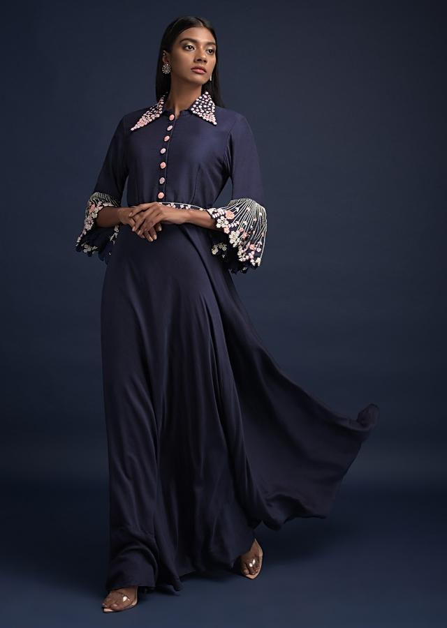 Navy Blue Long Dress In Cotton With Embroidered Fancy Bell Sleeves And Collar Neckline Online - Kalki Fashion